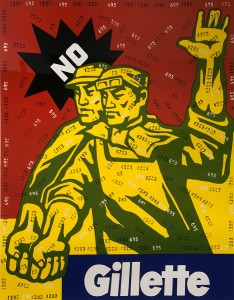 Wang Guangyi, No Gillette, Lithograph, 2002, 29.25 x 23.5 inches, Ed 199