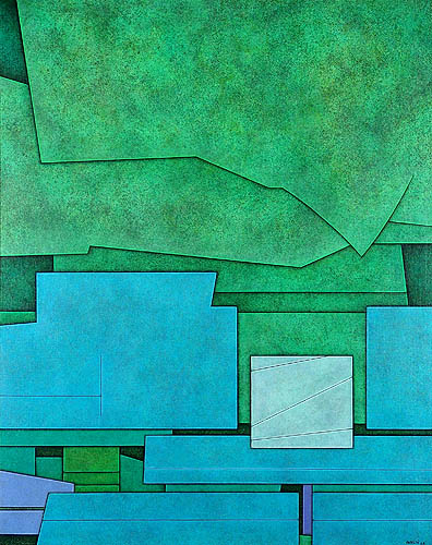 Gunther Gerzso, Verde-Azul-Blanco, 36 3.8 x 28 3.4 inches, 1978, Oil on Canvas