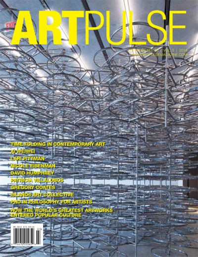 ArtPulse Front Cover: Ai Weiwei, Stacked, 2002, 680 stainless steel units. Installation view Pérez Art Museum Miami. Photo: Daniel Azoulay Photography.