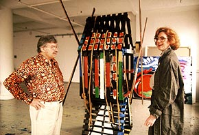 Karel Appel and Virginia Miller select a sculpture for his exhibit