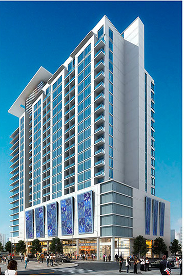 The 25-story luxury condominium sits on the shore of Lake Eola
