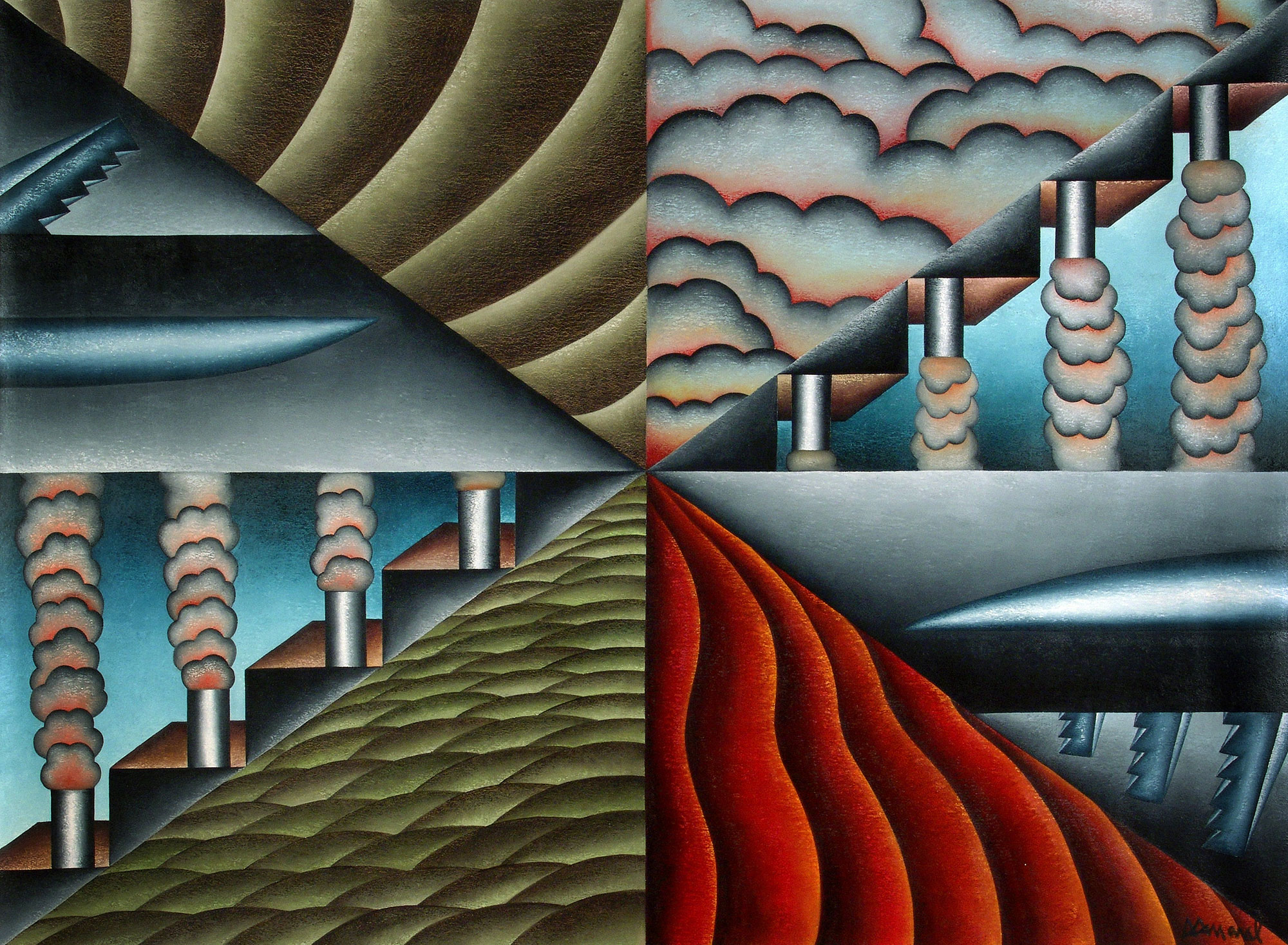Antonio Henrique Amaral, Antagonic Fields or Fields of Opposites, 72 x 97 inches, 1992, Oil on Canvas