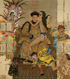 Liu Yan, The Man's World, Ink, Mixed Media on Chinese Book Paper Mounted on Silk