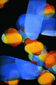 Michelle Concepción, Blue across with yellow and orange, 59 x 39.25 inches, acrylic on canvas, 2007